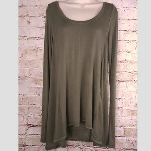 Free People Sz M Olive Green Tunic Top Trapeze